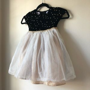 Girls gold and black holiday dress with sparkles